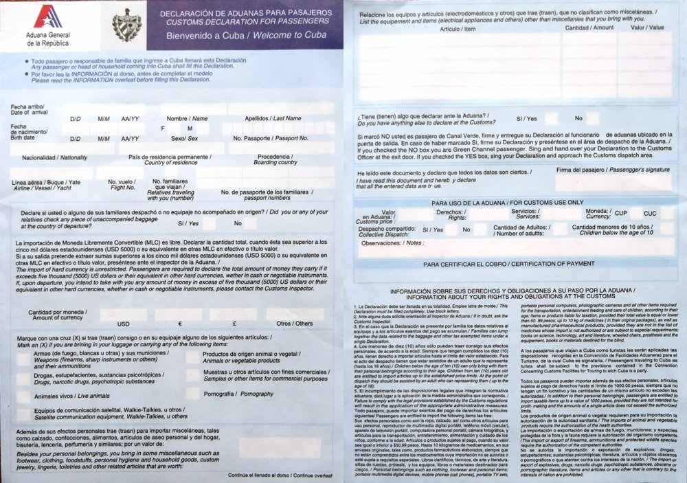 Cuban customs and immigration heres an example of the custom declaration form that thecheapjerseys Choice Image